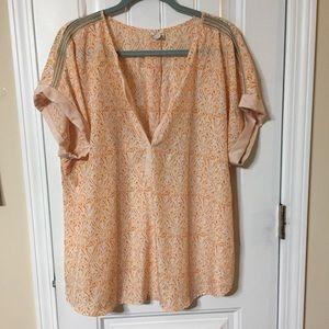 Cato Peach Abstract Pattern Beaded Top Sz 22/24W